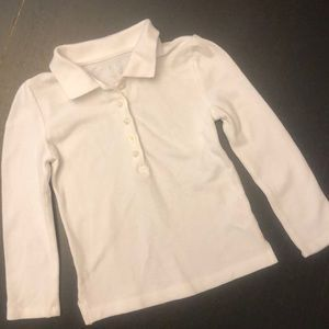 Children's Place White Long Sleeve Pique Polo